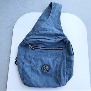 Kipling Blue vinyl  cross body back pack!
